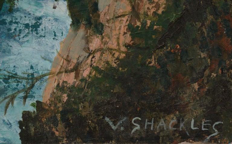 Point Lobos Cove California Coastline - Black Landscape Painting by Virginia Shackles