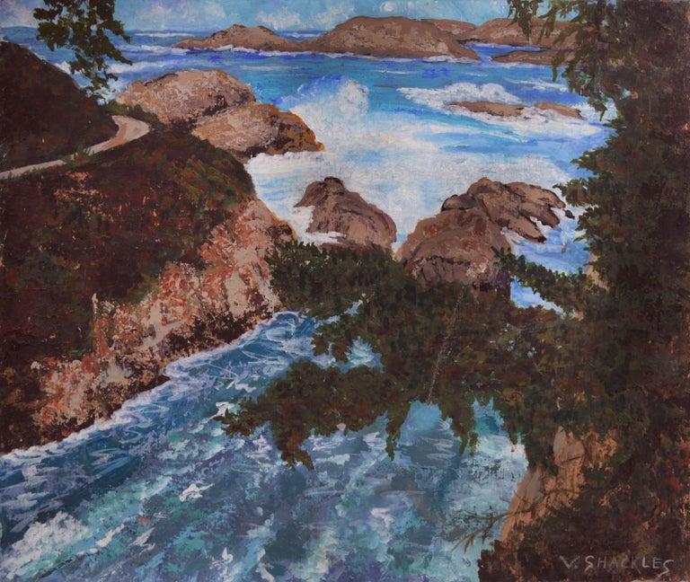 Virginia Shackles Landscape Painting - Point Lobos Cove California Coastline