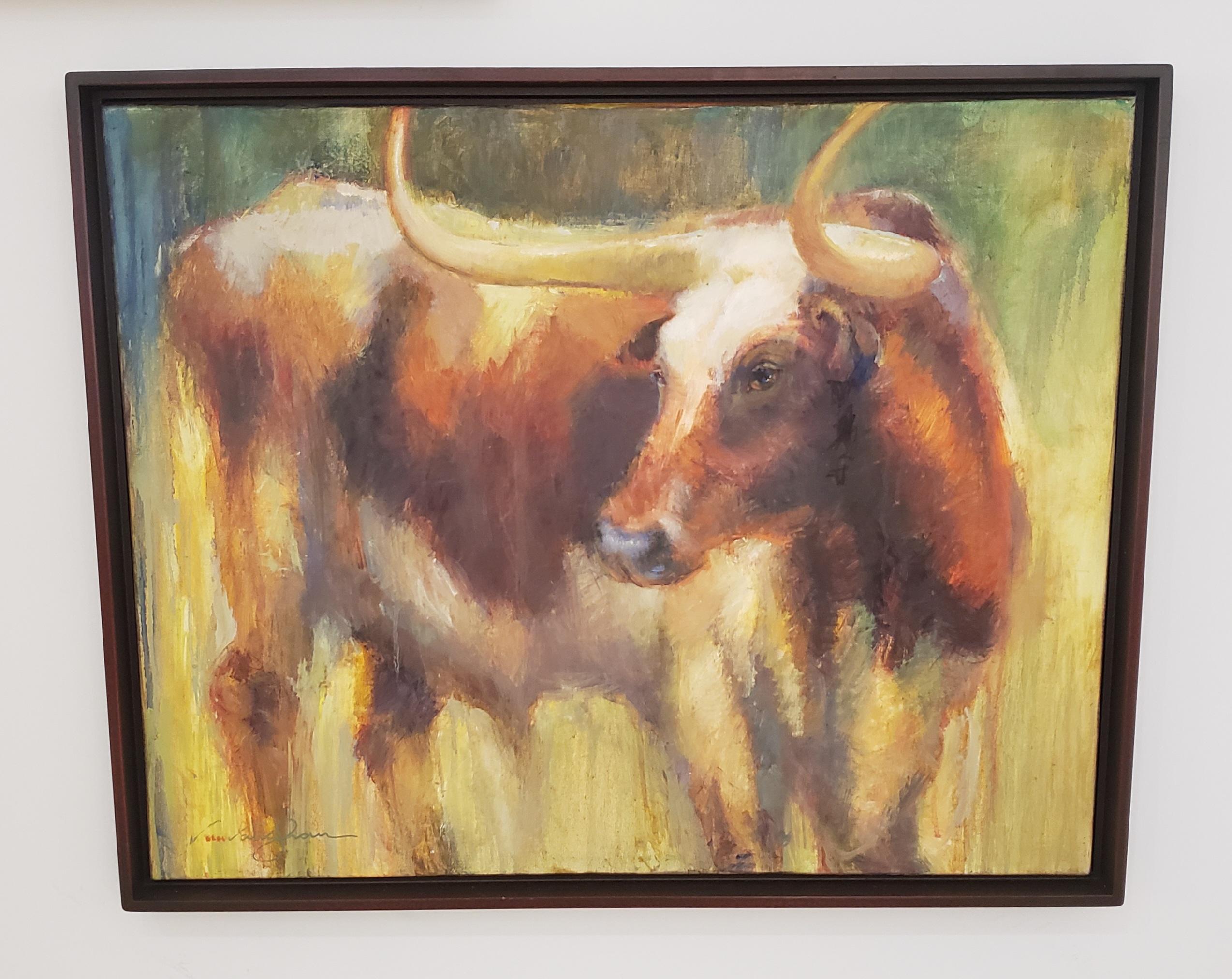Gaze ,Texas Cattle, Impressionism ,Texas Ranches, Texas Artist, Framed