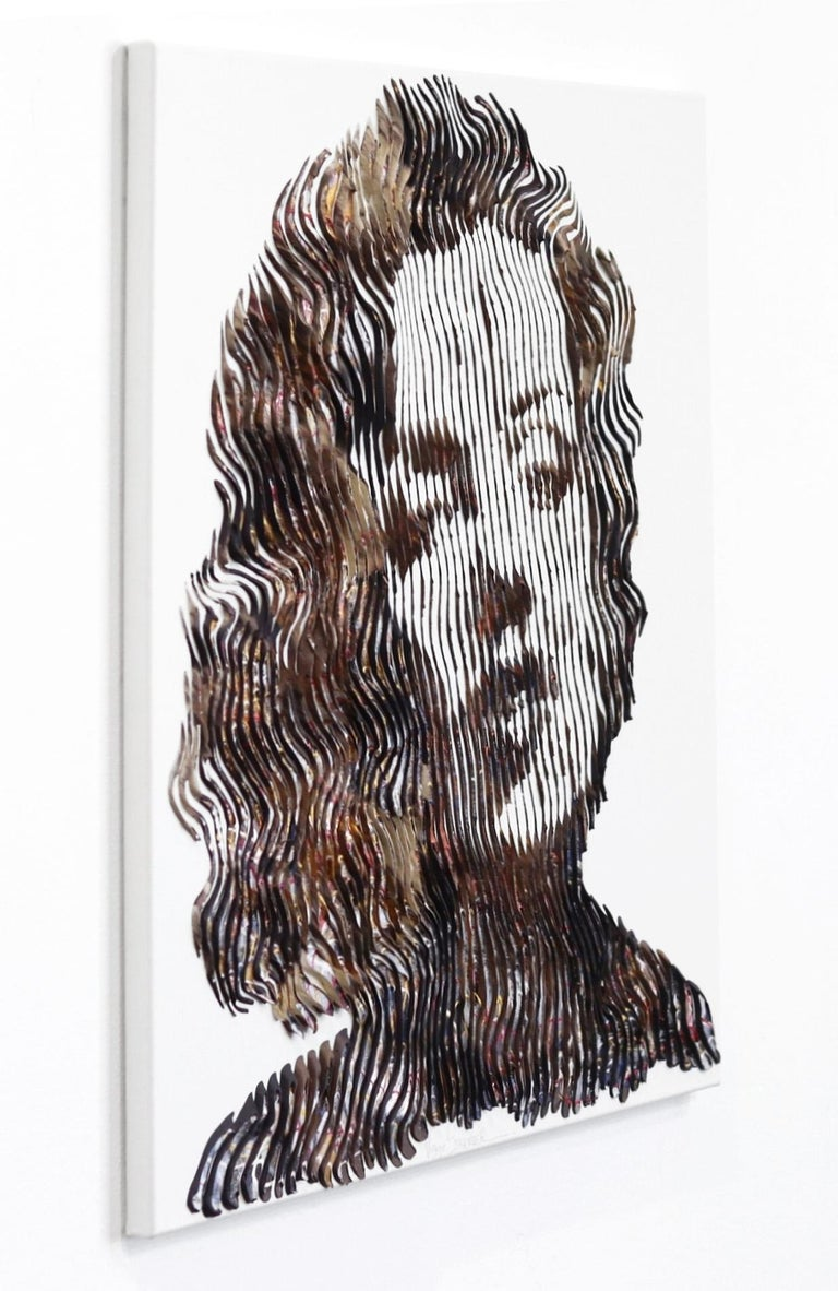 Tell Me Everything Marilyn  - Gray Portrait Painting by Virginie Schroeder