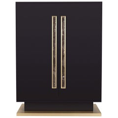 Viriato Cabinet Glossy Brown with Antique Brass Details and Marble Handles