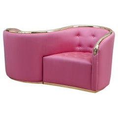 Vis a Vis sofa in pink and solid brass by Salvador Dalí