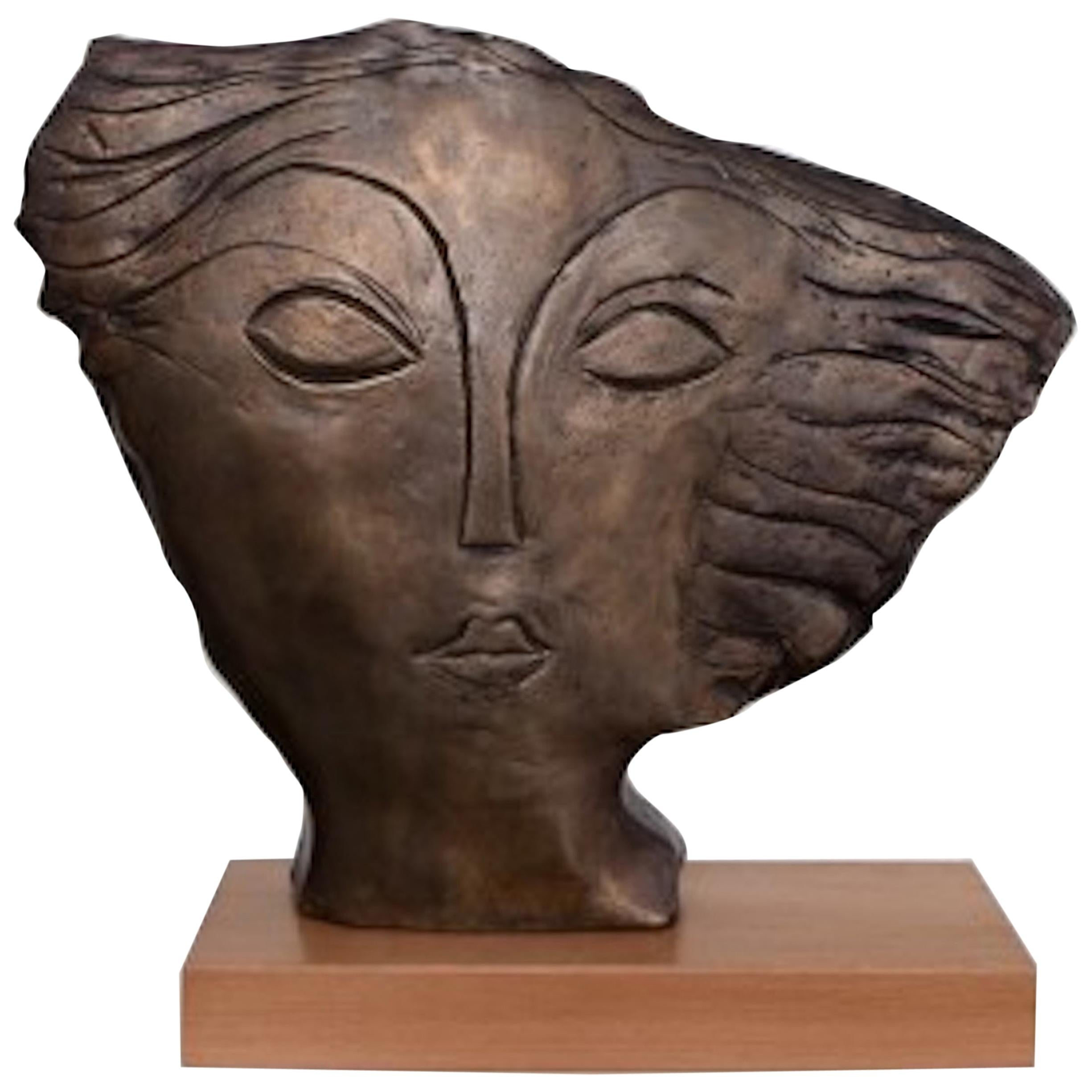 'Visage' One of a Kind Bronze Sculpture