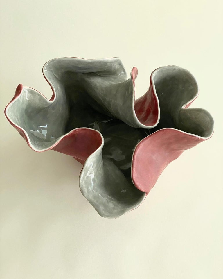 Minimalist Visceral Red Gray II, One of a Kind, Clay Sculpture with Glass Glaze For Sale