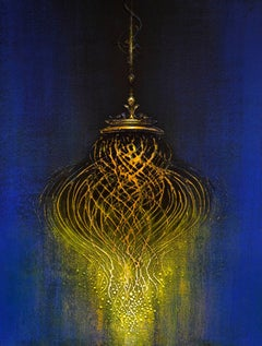 "Chandelier, Abstract Painting, Acrylic on canvas, Blue, Yellow, Gold ""In Stock"""