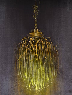 "Chandelier, Abstract, Acrylic Painting, Grey, Yellow, Gold colors ""In Stock"""