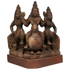 Vishnu on Peacock with Attendants, South India, Early to Mid-20th Century