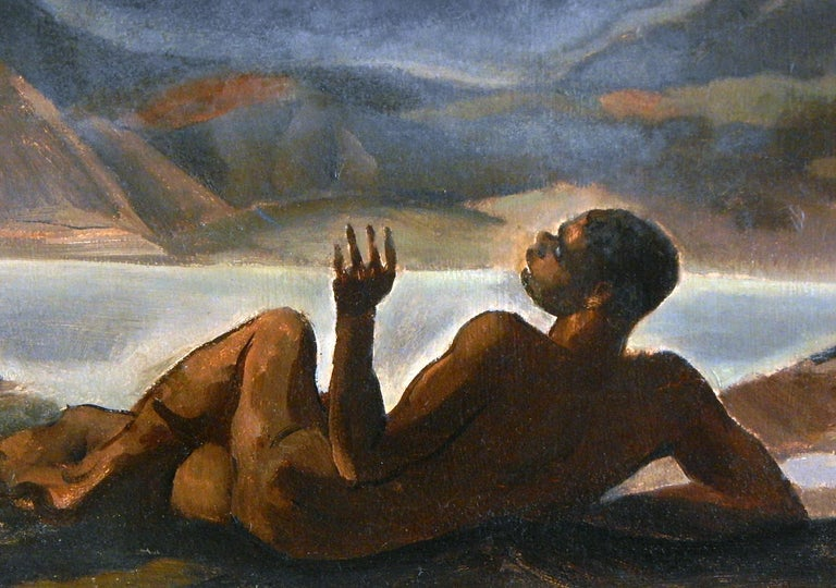 Although not signed, this brilliant scene of a nude black male figure, marvelling at a vision of angels in the heaven from his position on the ground below, is reminiscent of the early work of African American artists such as Robert Neal, James Amos