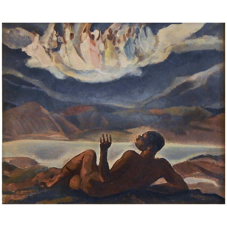 """""""Vision of Angels,"""" Important Night-Time Scene, WPA Era, African American Artist For Sale"""