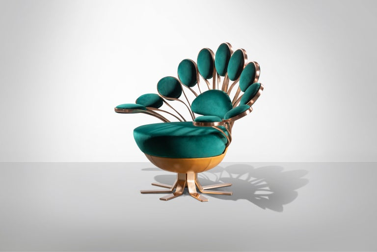 Italian Visionnaire Il Pavone Smeraldo Armchair with Chromed Steel Base by Marc Ange For Sale