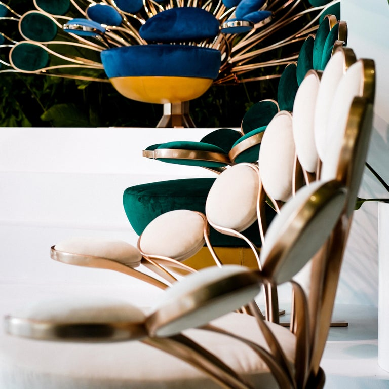 Velvet Visionnaire Il Pavone Smeraldo Armchair with Chromed Steel Base by Marc Ange For Sale