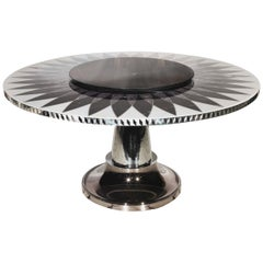 Visionnaire Raidho Dining Table in Marble and Chromed Metal Base by Steve Leung