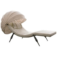 Visionnaire Sveva Padded Chaise Lounge with Metal Legs by Giuseppe Viganò