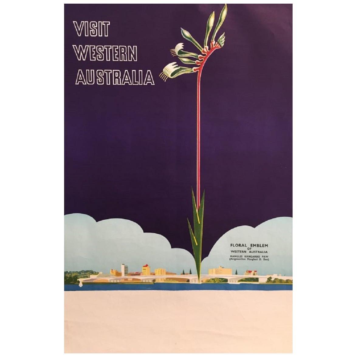 Visit Western Australia Floral Emblem Original Vintage Poster