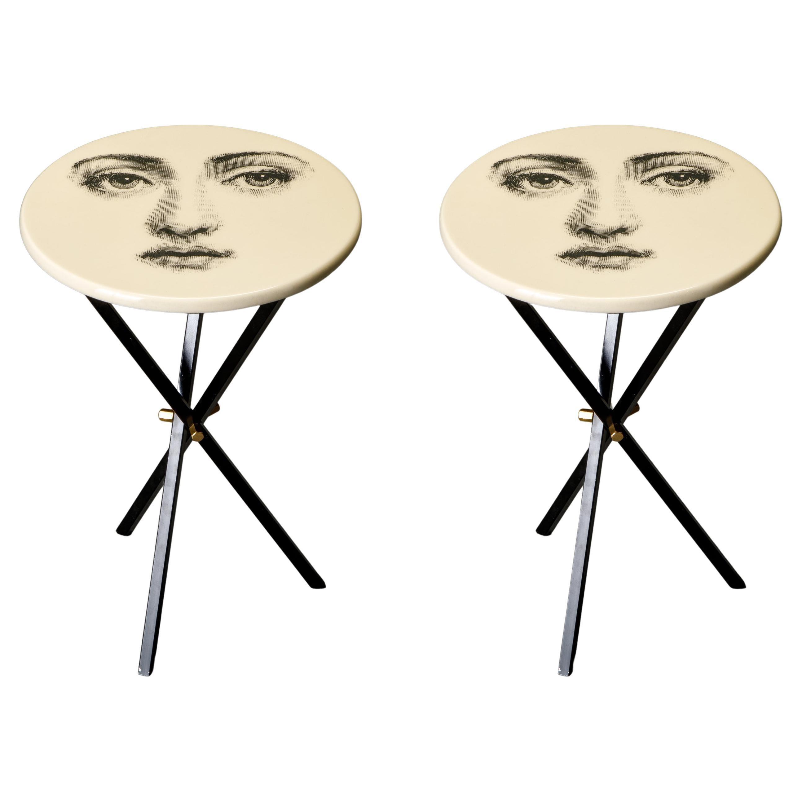 'Viso Di Donno' Pair of Side Tables by Piero Fornasetti, circa 1960s, Signed