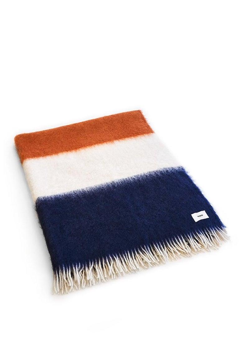 Spanish Viso Mohair Blanket V01 navy For Sale