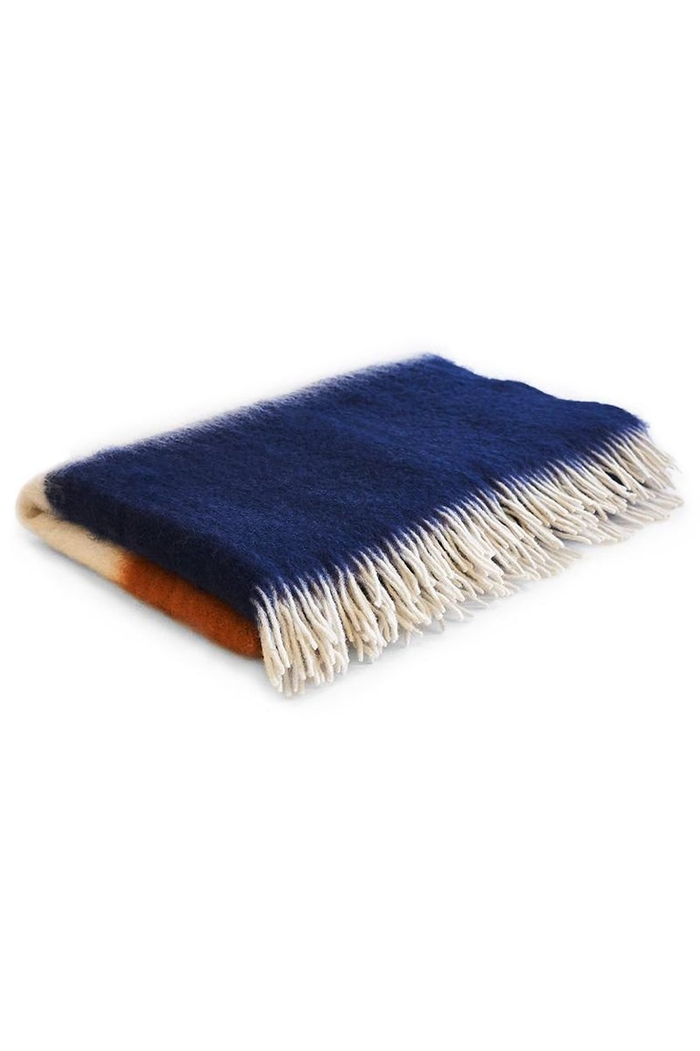 Viso Mohair Blanket V01 navy In New Condition For Sale In New York, NY