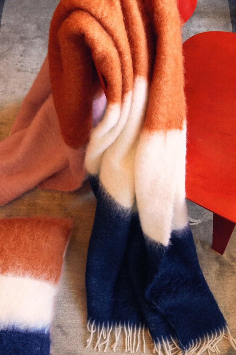 Contemporary Viso Mohair Blanket V01 navy For Sale
