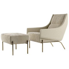Vista Lounge Chair, Contemporary Armchair in Holly Hunt Fabrics, Bronze Finish