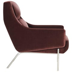 Vista Lounge Chair, Contemporary Armchair, in Holly Hunt Velvet Stainless Steel