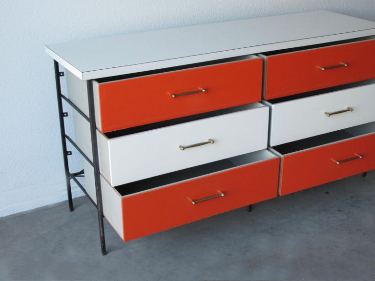 Brass Mid-Century Modern Nelson Style Chest of Drawers Vista of California For Sale