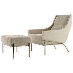 Vista Ottoman, Contemporary Footstool in Holly Hunt Fabrics, Bronze Finish