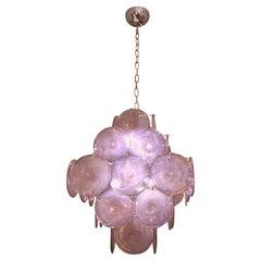 Vistosi 1970s Art Deco Iridescent Pink Amethyst Murano Glass 5-Tier Chandelier