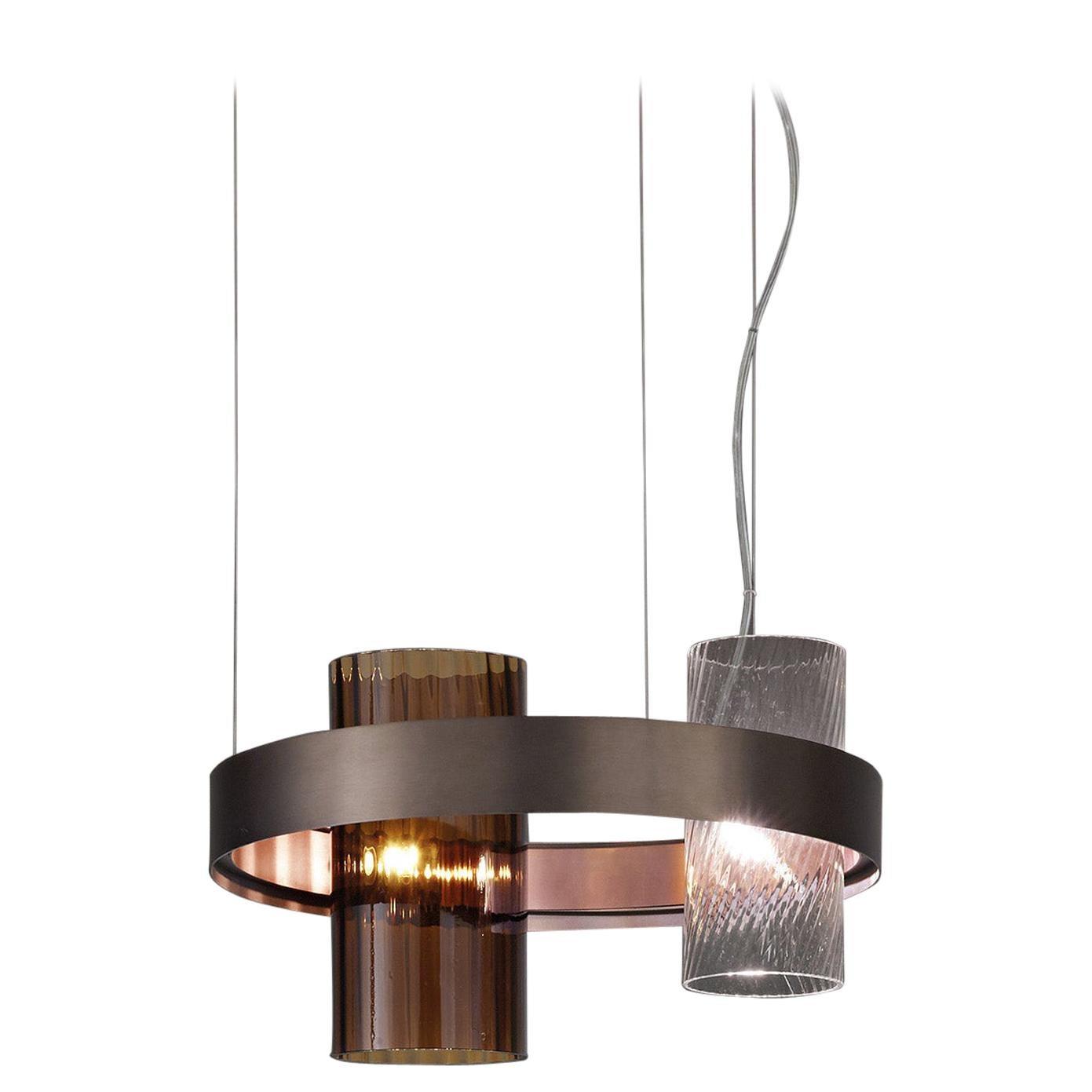 Vistosi Armonia Medium Suspension Light with Black Frame by Francesco Lucchese