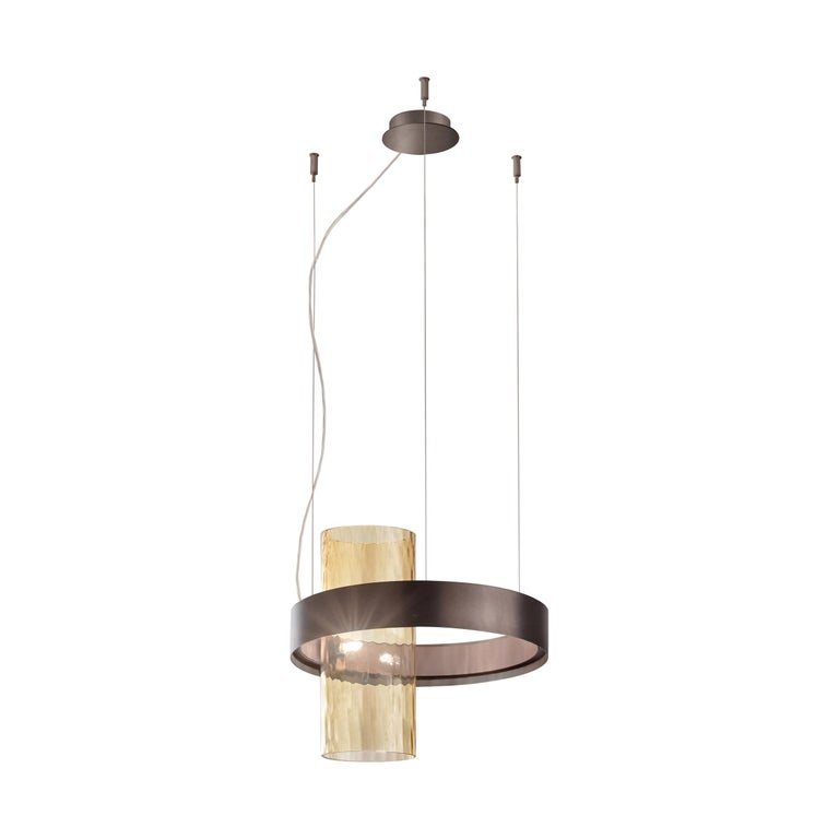 Yellow (Amber and Balloton) Vistosi Armonia Small Suspension Light with Black Brass Frame by Francesco Lucch