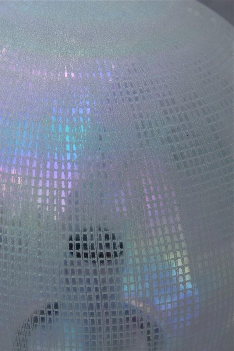 Murano Glass Vistosi Ball White Table Lamp Pop Art Italy 1970s Italian Design Steel For Sale