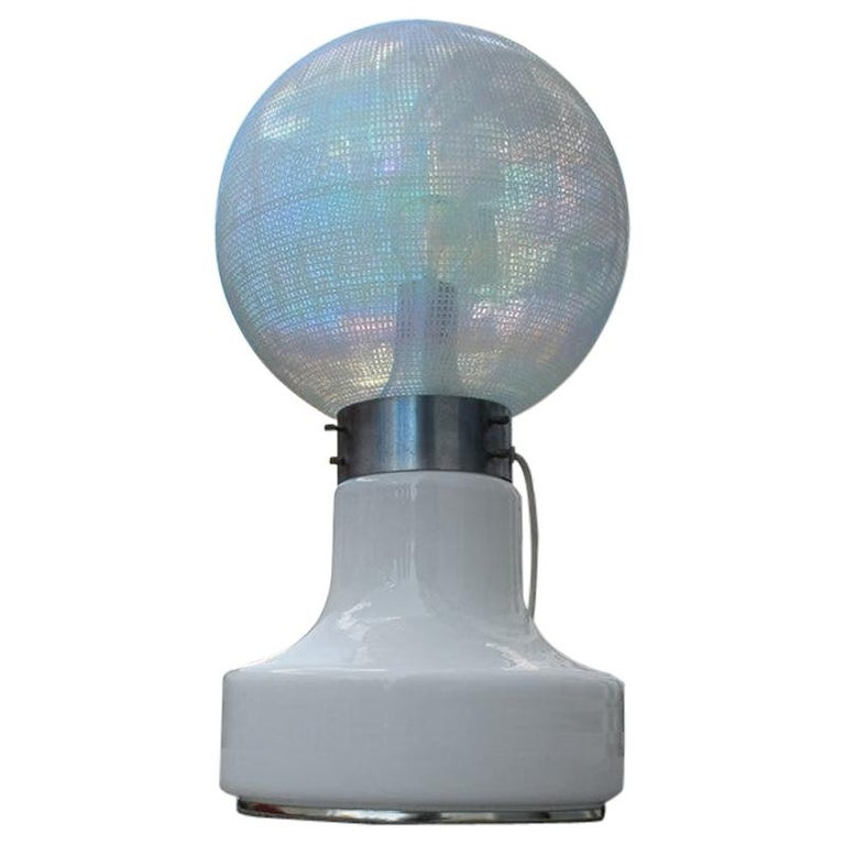 Vistosi Ball White Table Lamp Pop Art Italy 1970s Italian Design Steel For Sale