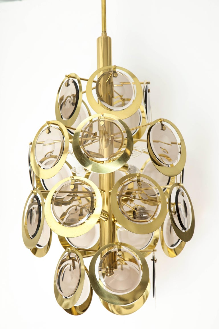 20th Century Vistosi Brass and Murano Glass Chandelier, circa 1970s For Sale