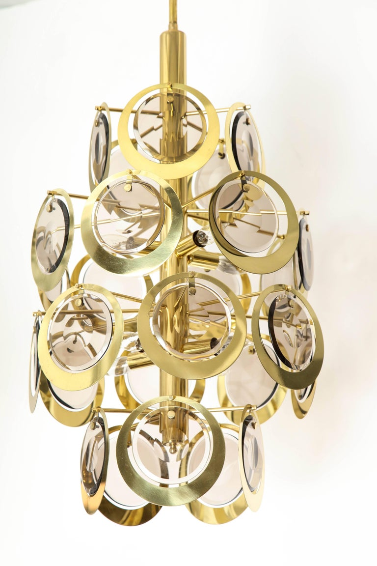 Vistosi Brass and Murano Glass Chandelier, circa 1970s For Sale 1