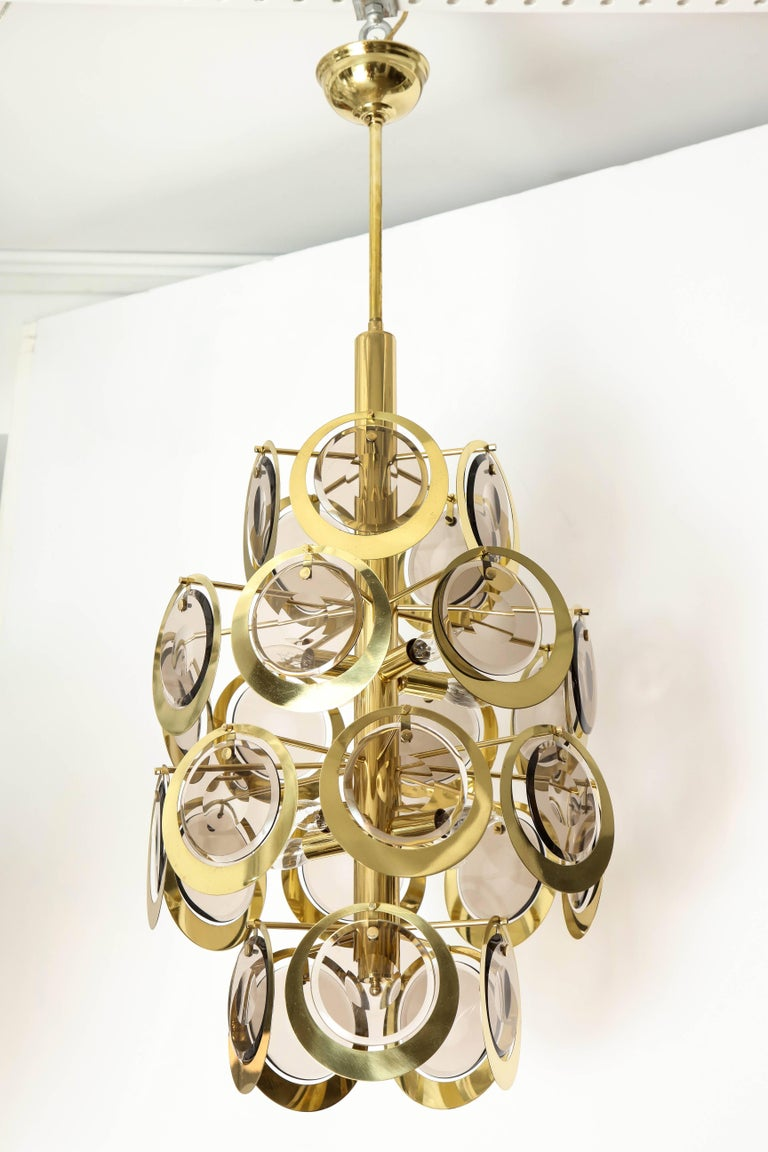 Vistosi Brass and Murano Glass Chandelier, circa 1970s For Sale 2