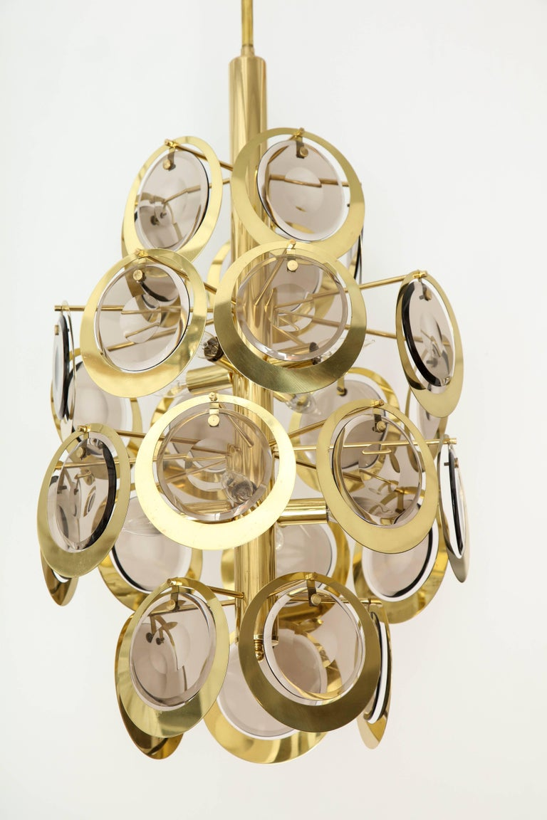 Vistosi Brass and Murano Glass Chandelier, circa 1970s For Sale 3