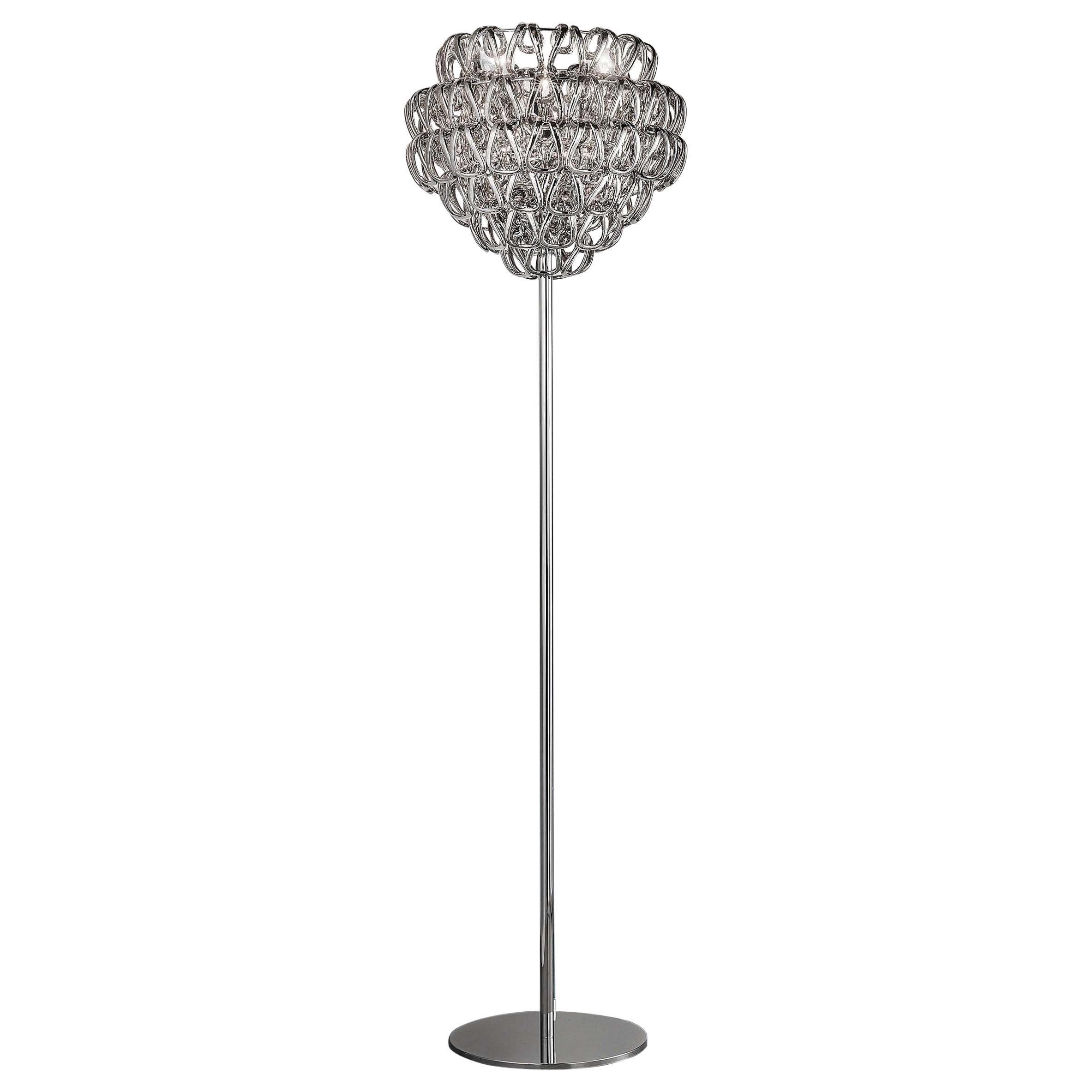 Vistosi Giogali Floor Lamp with Glossy Chrome Base by Angelo Mangiarotti