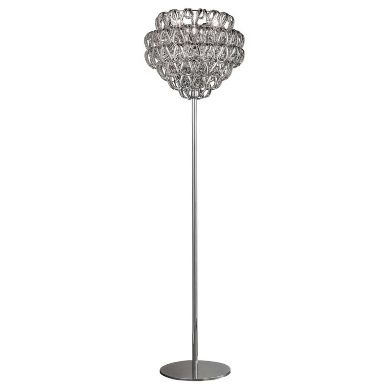 For Sale: Clear (Transparent Crystal) Vistosi Giogali Floor Lamp with Glossy Chrome Base by Angelo Mangiarotti