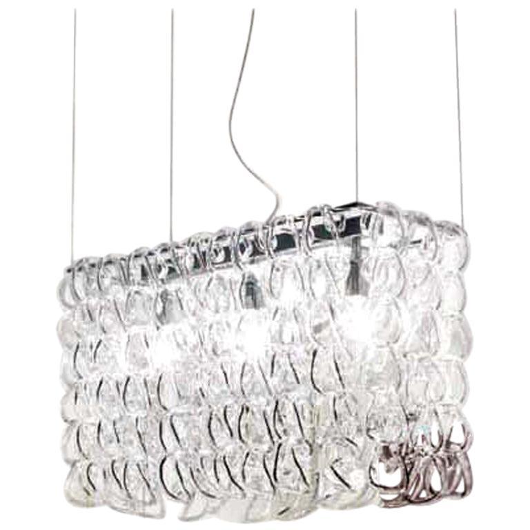 Vistosi Giogali Pendant Light in Crystal and Transparent by Angelo Mangiarotti