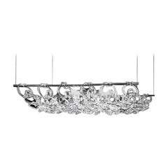 Vistosi Giogali Rectangular Pendant Light in Crystal by Angelo Mangiarotti