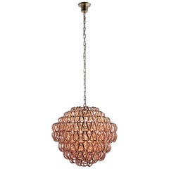 Vistosi Giogali SP 60 Suspension Light with Bronze Base by Angelo Mangiarotti