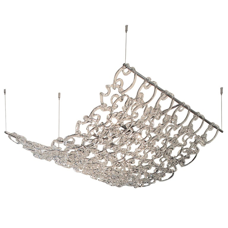 Vistosi Giogali3D SP90 Chandelier in Transparent Crystal by Angelo Mangiarotti For Sale