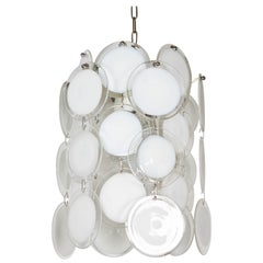 Vistosi Italian 1970s White and Clear Glass Disc Chandelier