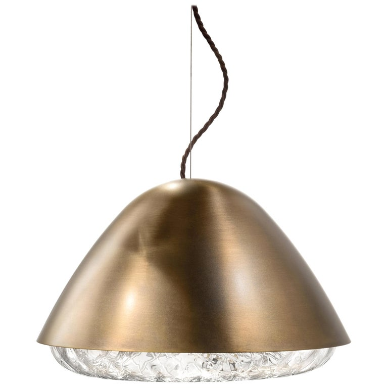 Vistosi Kira SPP LED Pendant Light in Brass by Alberto Saggia e Valerio Sommella For Sale