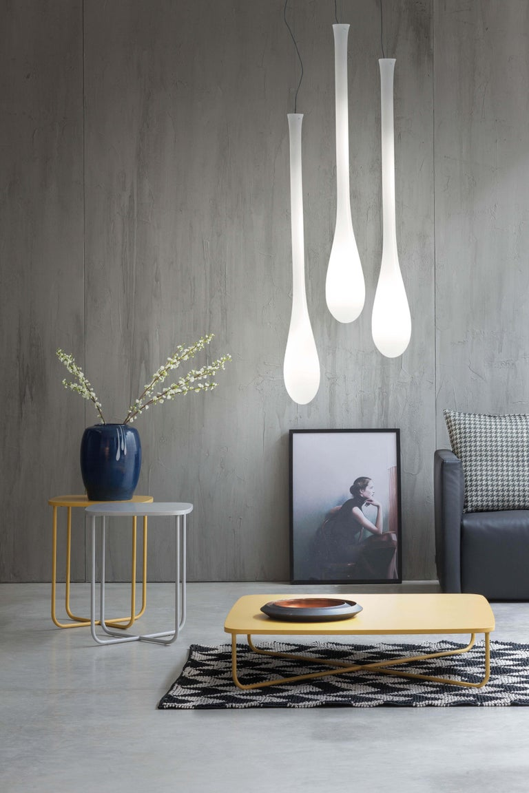 Modern Vistosi LED Lacrima SP G Suspension Light in White by Paolo Crepax For Sale