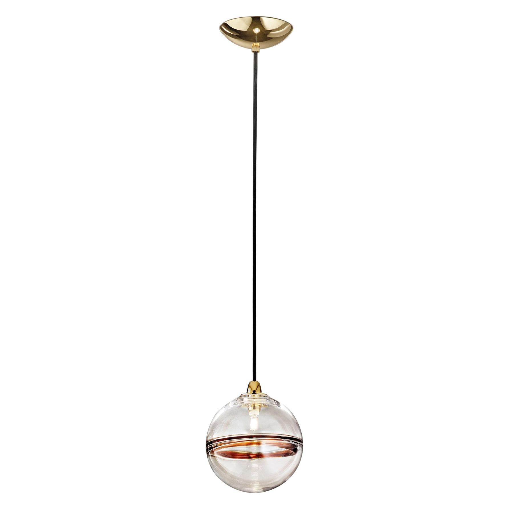 LED Oro SP P Suspension Light with Brass Frame by Vistosi