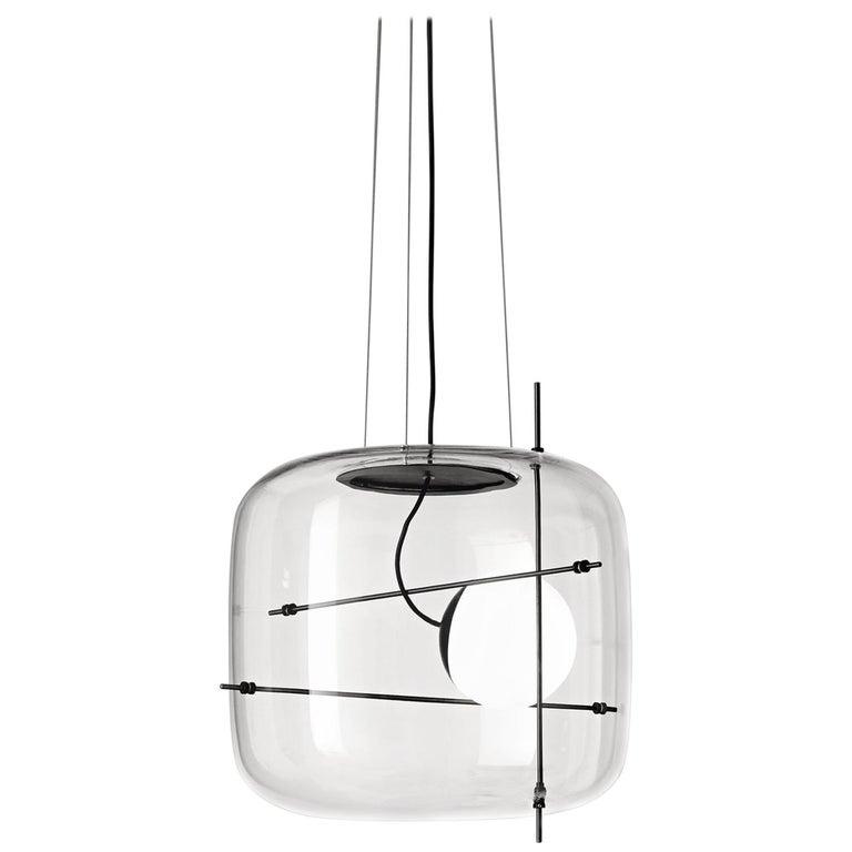 For Sale: Black (Crystal and Black) Vistosi LED Plot SP Suspension Light by Chiaramonte & Marin