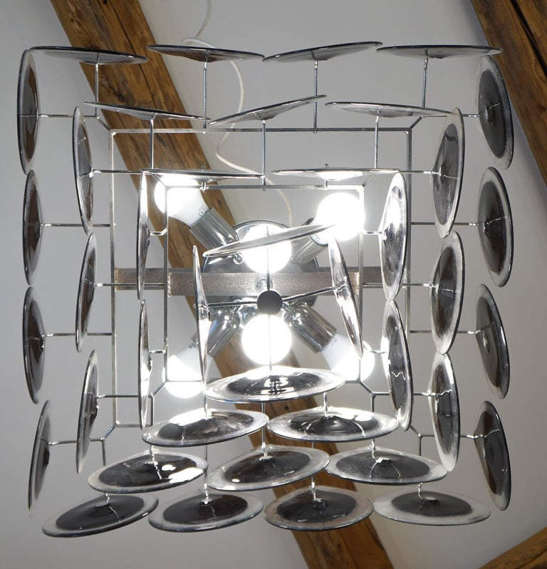 Vistosi Mid-Century Modern Black Crystal Murano Glass Chandelier