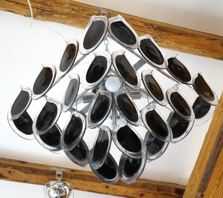 Late 20th Century Vistosi Mid-Century Modern Black Crystal Murano Glass Chandelier