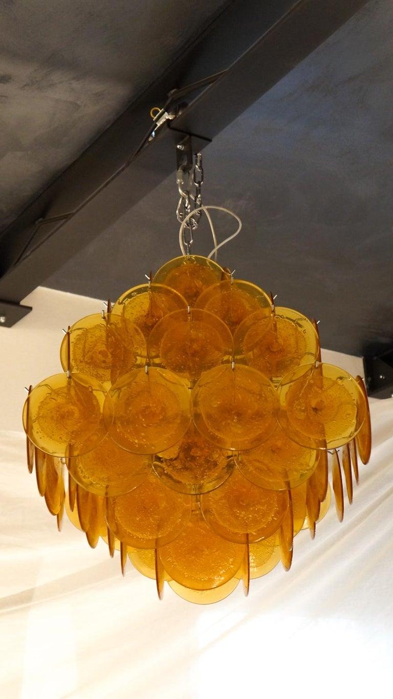 Vistosi Mid-Century Modern Orange Murano Glass Chandelier