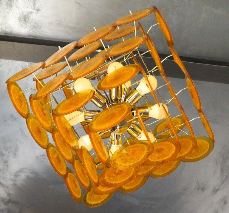 Art Glass Vistosi Mid-Century Modern Orange Murano Glass Chandelier